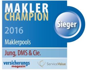 """Jung, DMS & Cie. ist """"Makler-Champion 2016"""""""